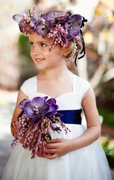 little girl with floral wreath & bouquet