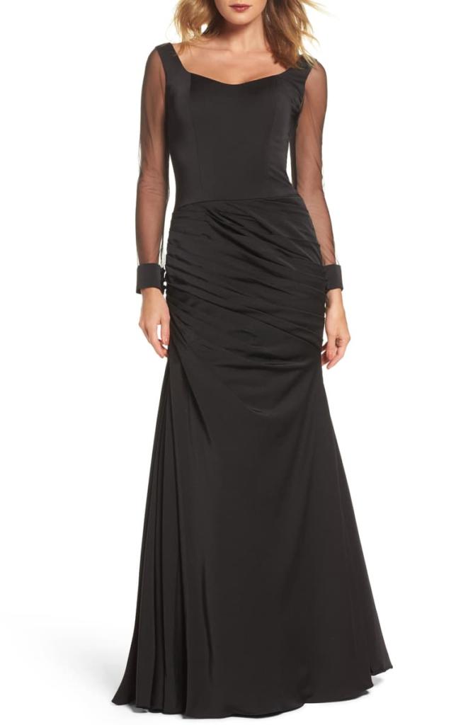 Sheer Sleeve Gown LA FEMME