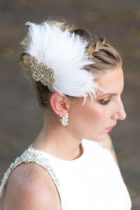 feather fascinator + Mariell earrings