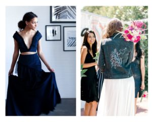 Navy gown + personalized jean jacket incandescent bridal