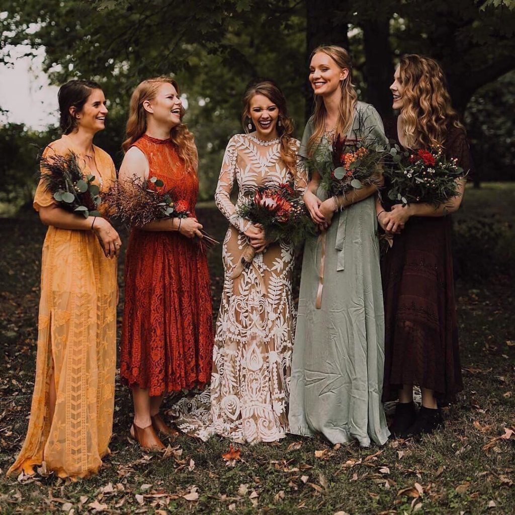 outfitting your bridesmaids in different colored dresses june 2020 post