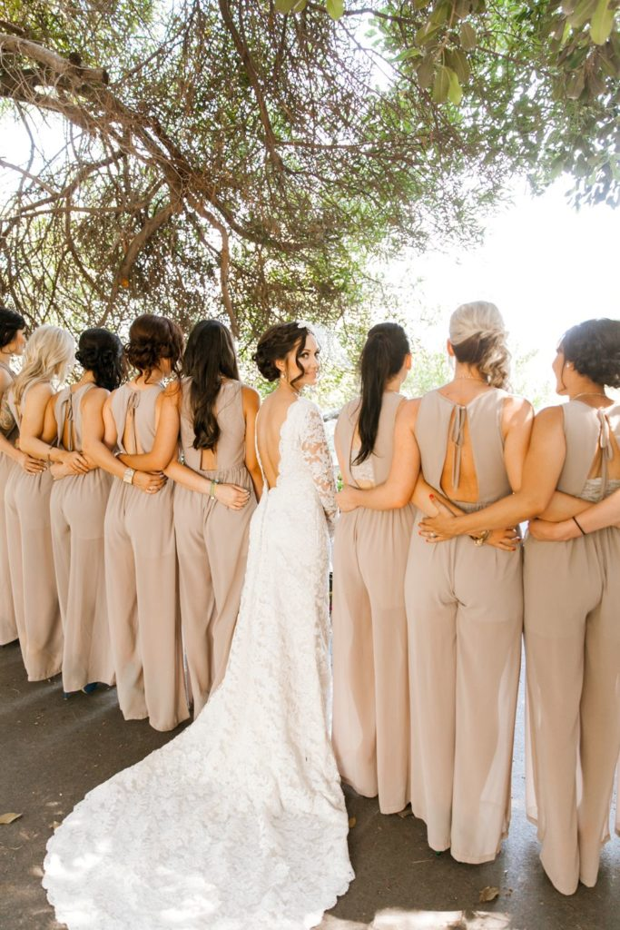Bride & Bridesmaids in jumpsuits
