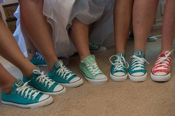 outfitting your bridesmaids in colorful converse sneakers