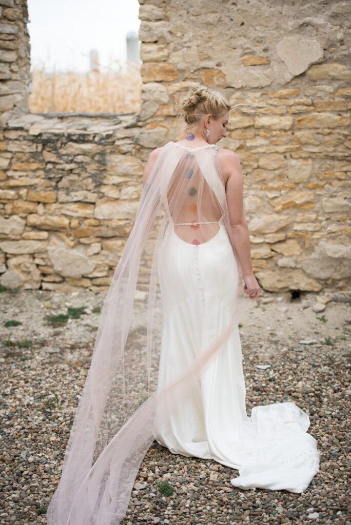 wedding cape veil in blush