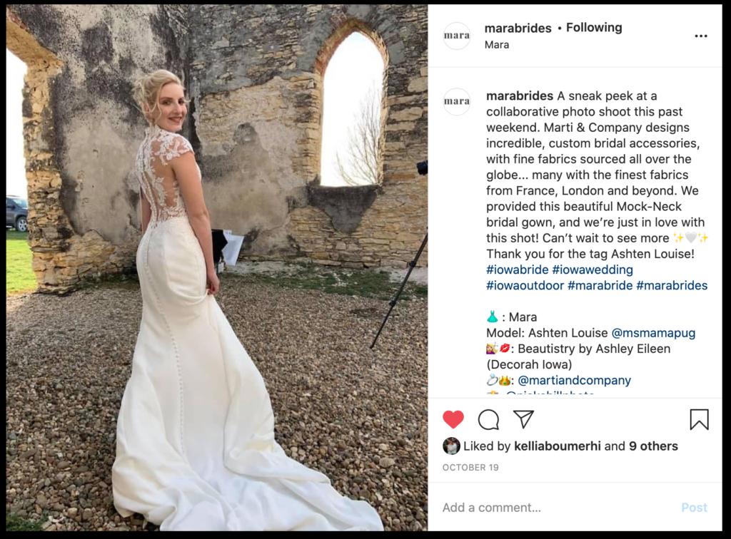 instagram shoutout from Mara brides