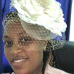 woman in bridal hat
