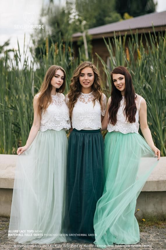 outfitting your Bridesmaids in green 2 piece outfits