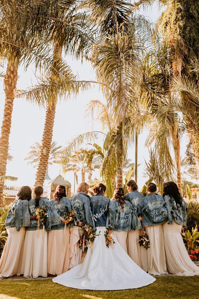 outfitting your bridesmaids in jean jackets at a destination wedding