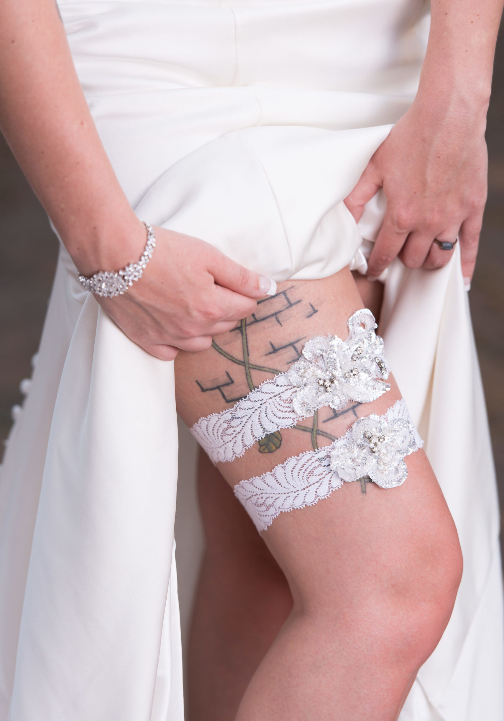 French Lace Art Deco Garter Set